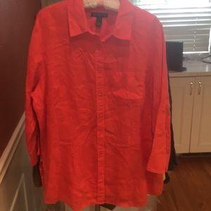 INC WOMAN Orange Linen Button Down 3/4Sleeve Tunic